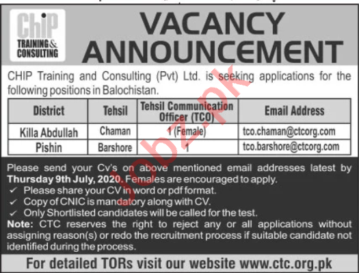 CHIP Training & Consulting Balochistan Jobs 2020
