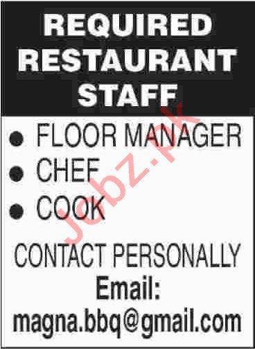 Floor Manager & Chef Jobs 2020 in Karachi