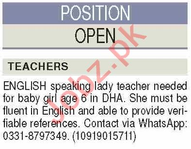 Teacher & English Teacher Jobs 2020 in Karachi