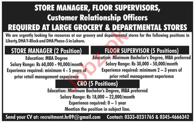 Store Manager & Floor Supervisor Jobs 2020 in Lahore