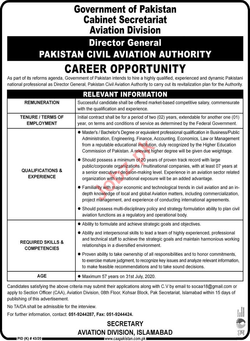 Aviation Division PCAA Islamabad Jobs 2020 Director General