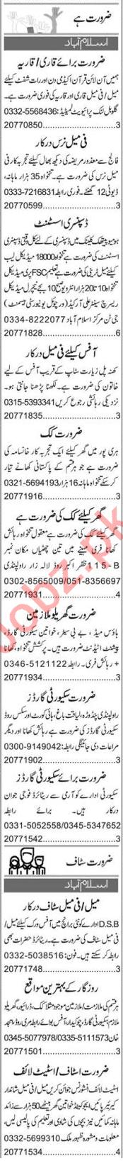 Quran Teacher & Dispensary Assistant Jobs 2020