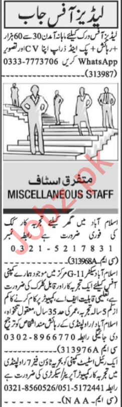 Receptionist & Cook Jobs 2020 in Islamabad