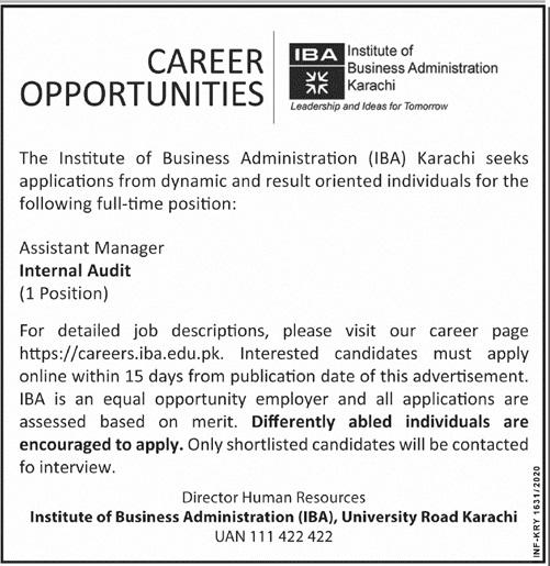 Institute of Business Administration IBA Karachi Job 2020