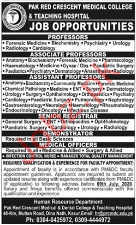 Pak Red Crescent Medical College & Teaching Hospital Jobs
