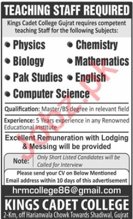 Kings Cadet College Gujrat Jobs 2020 for Lecturers