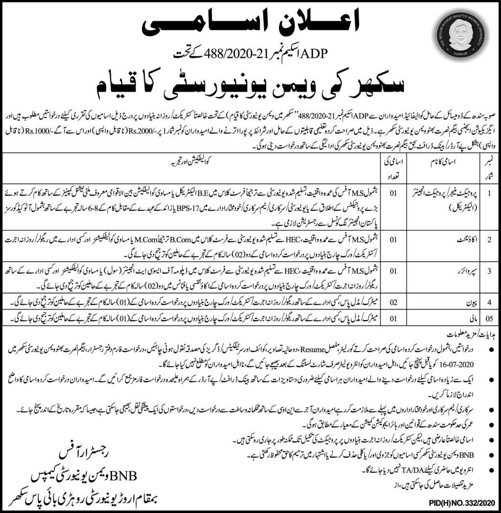 Begum Nusrat Bhutto Women University Jobs in Sukkur