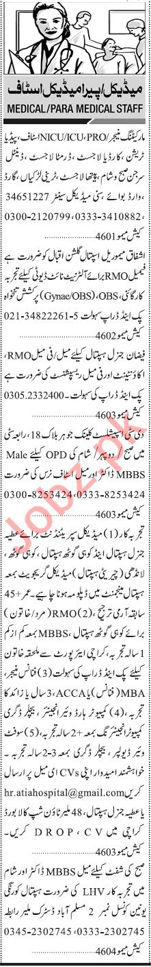 Jang Sunday Classified Ads 5th July 2020 for Medical Staff