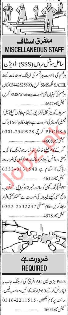 Jang Sunday Classified Ads 5th July 2020 for Multiple Staff