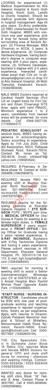 Dawn Sunday Classified Ads 5th July 2020 Paramedical Staff