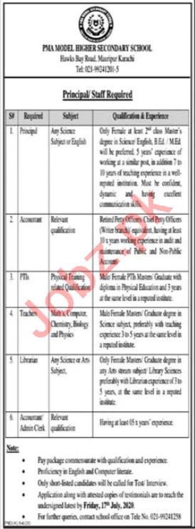 PMA Model Higher Secondry School Karachi Jobs 2020