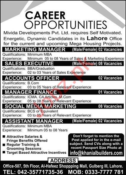 Accounts Officer & Finance Manager Jobs Mivida Development