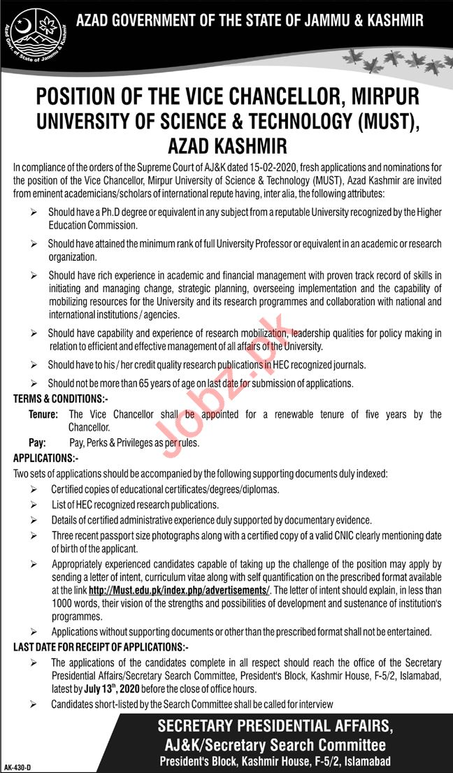 Vice Chancellor Jobs 2020 in MUST University Mirpur