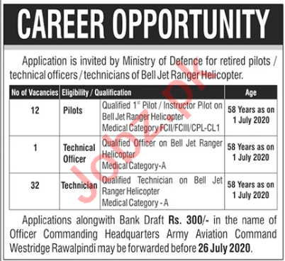 Pilots & Technical Officer Jobs in Army Aviation Command