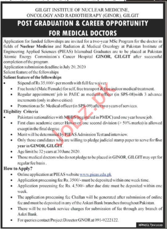 Gilgit Institute of Nuclear Medicine Oncology GINOR Jobs