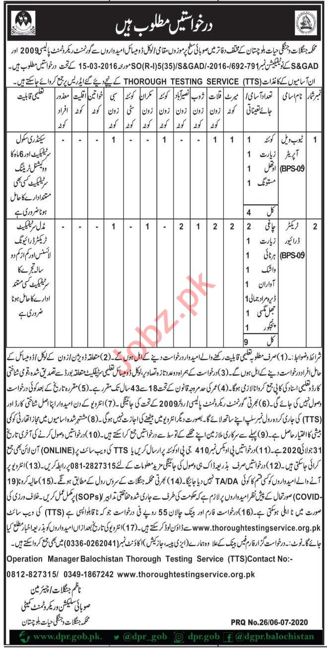 Forest & Wildlife Department Balochistan Jobs 2020