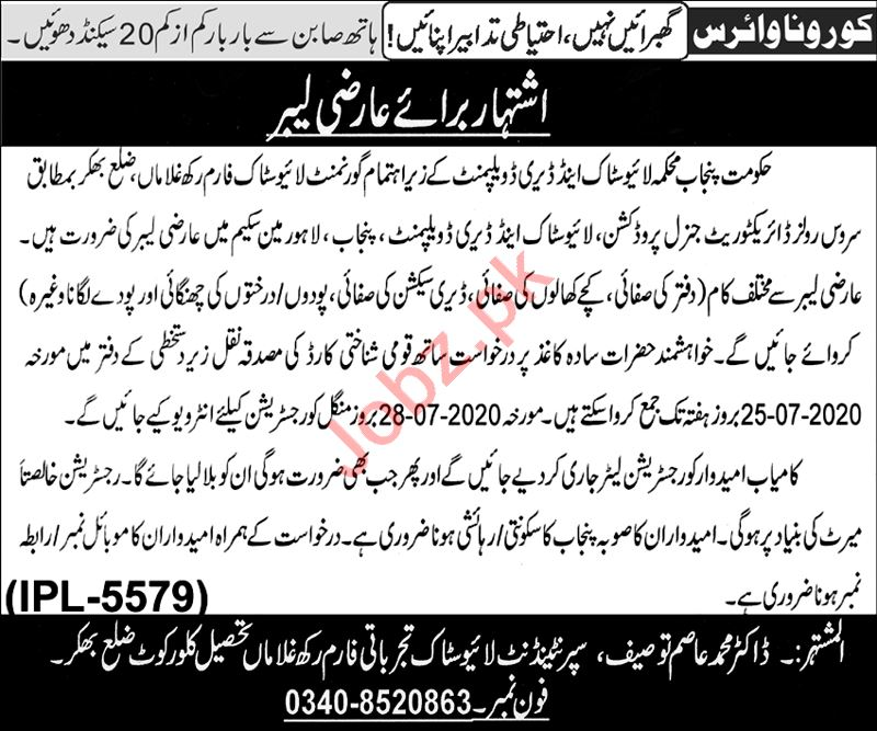Punjab Livestock & Dairy Development Department Jobs 2020