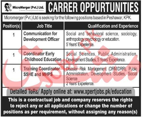 MicroMerger Peshawar Jobs 2020 for Communication Officer