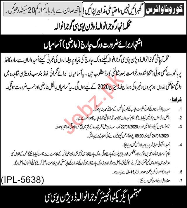 Gujranwala Division UCC Irrigation Department Jobs 2020