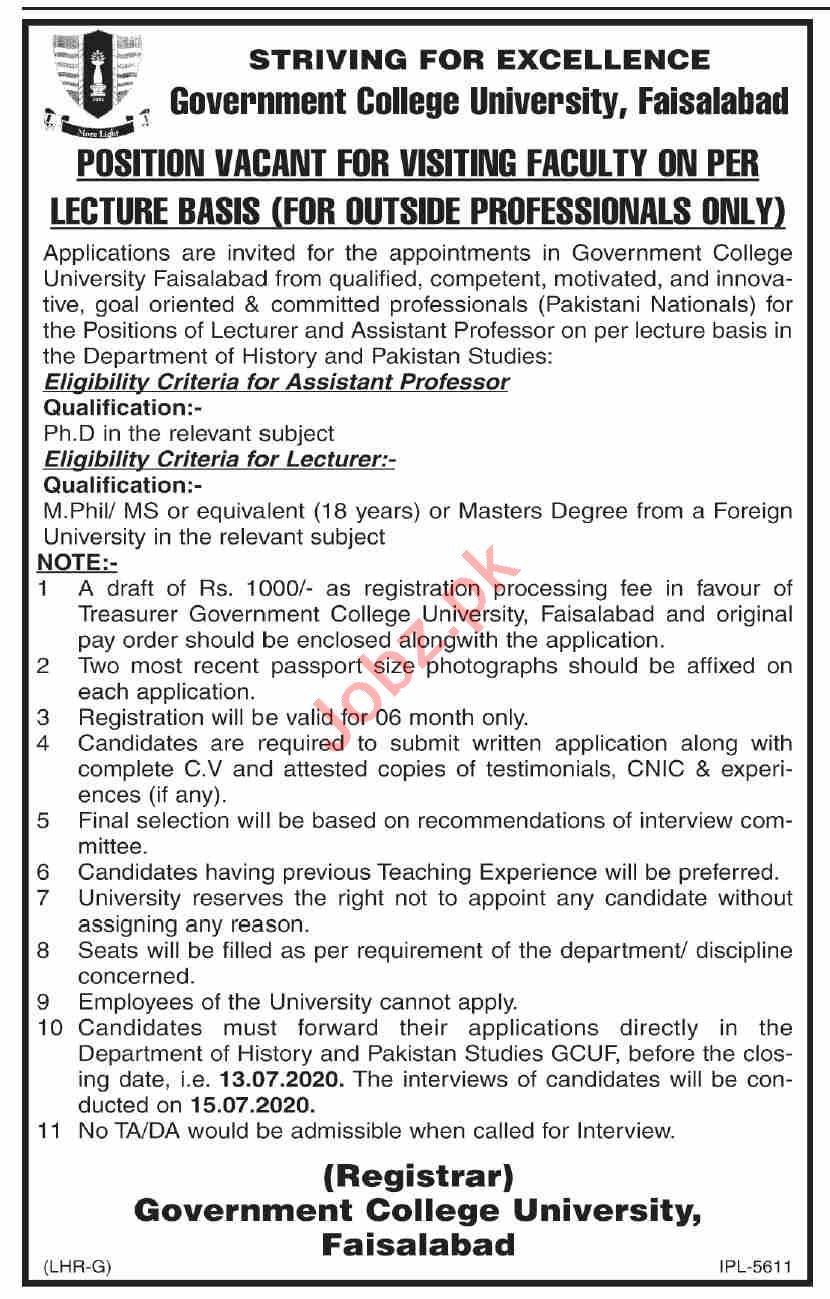 Govt College University Faisalabad GCUF Faculty Jobs 2020