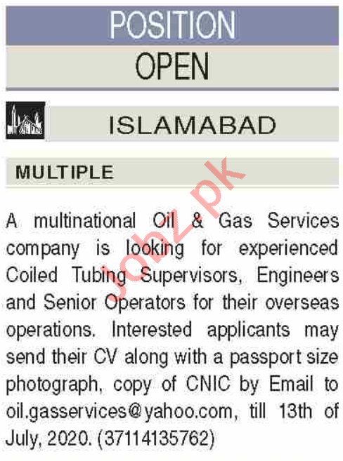 Coiled Tubing Supervisor & Senior Operators Jobs 2020