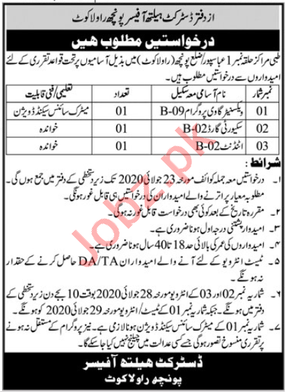 District Health Officer Poonch Rawalakot Jobs 2020