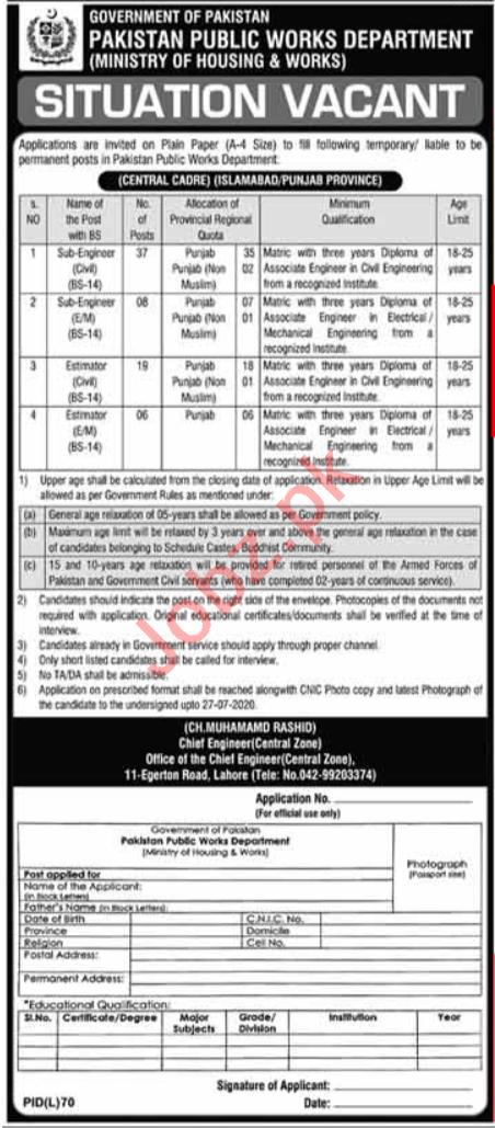 Pakistan Public Works Department PWD Lahore Jobs 2020