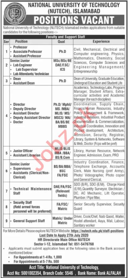 NUTECH University Islamabad Jobs 2020 for Professors