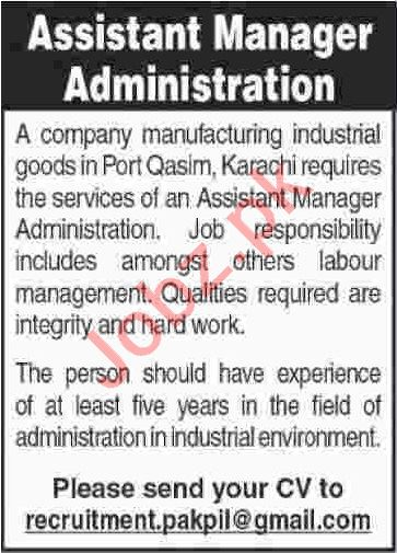 Assistant Manager Administration Jobs 2020 in Karachi
