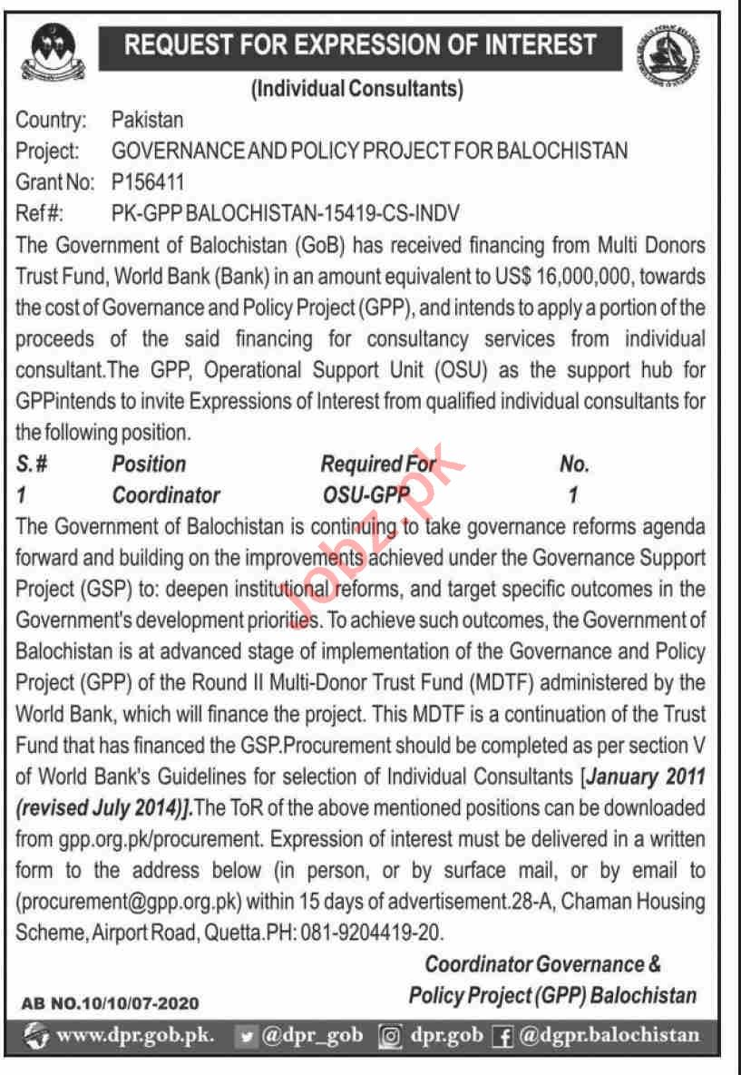 Governance & Policy Project for Balochistan GPP Jobs 2020