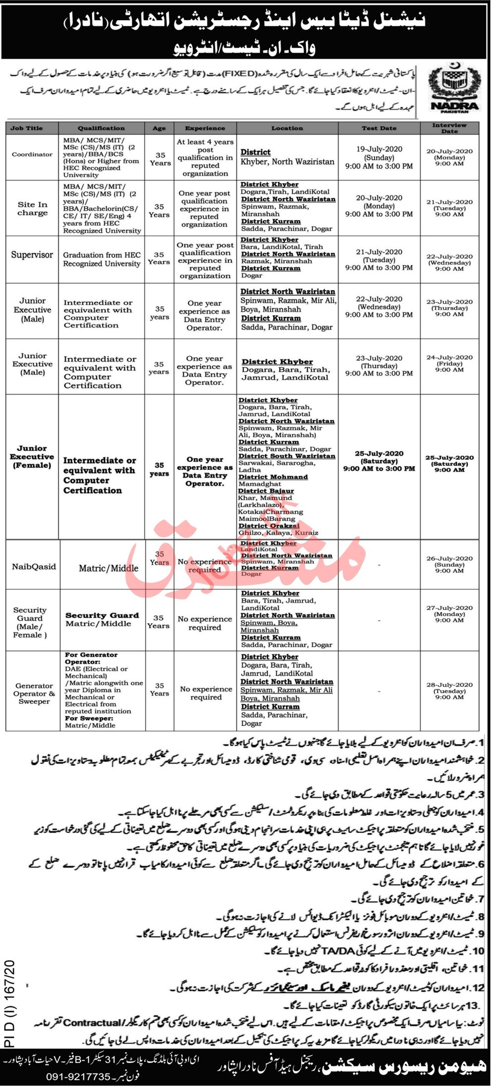 NADRA Regional Head Office Peshawar Jobs 2020