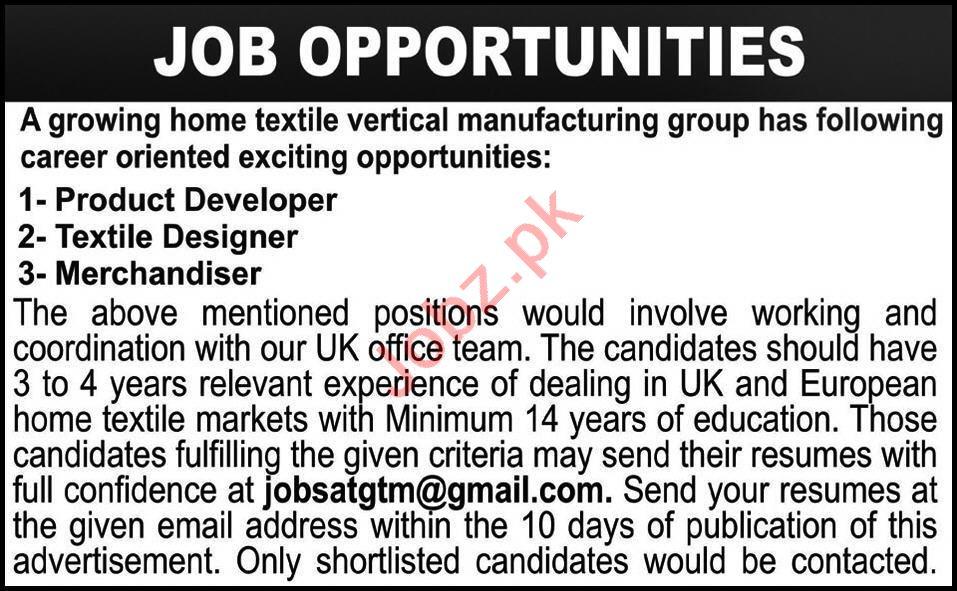 Product Developer & Textile Designer Jobs 2020 in Lahore