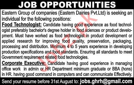 Food Technologist & Corporate Executive Jobs 2020