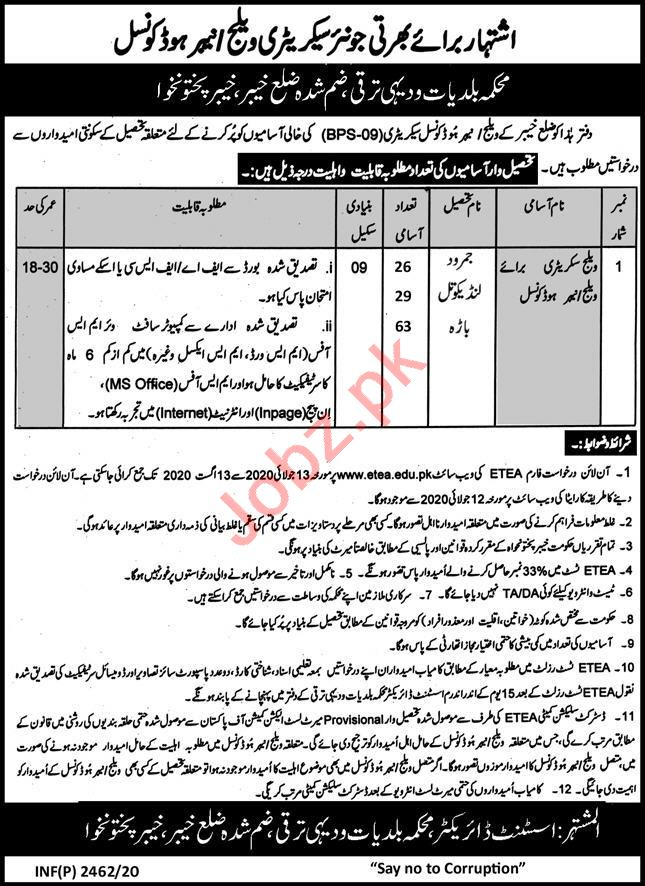 Village Secretary Jobs in Local Government LG&RDD Khyber