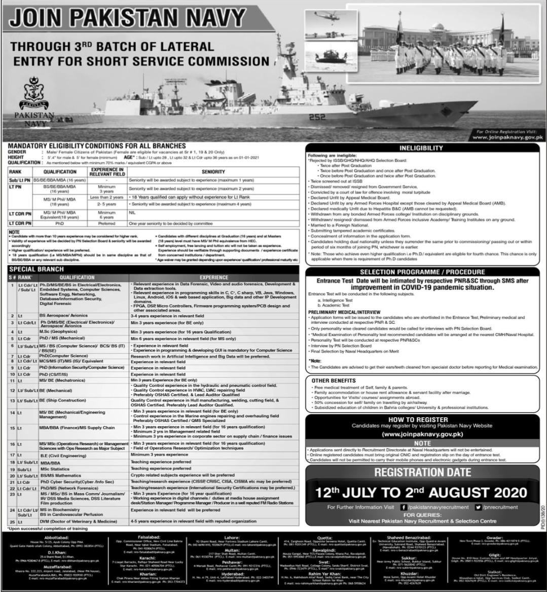 Join Pakistan Navy Through 3rd Batch