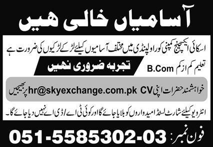 Sky Exchange Company Job 2020 in Rawalpindi