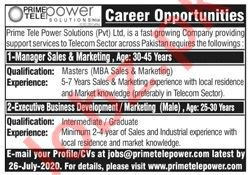 Prime Tele Power Solutions Islamabad Jobs 2020 for Managers