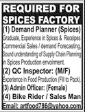 Spices Factory Jobs 2020 in Karachi