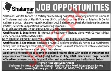 Shalamar Hospital Lahore Jobs 2020 for Respiratory Therapist