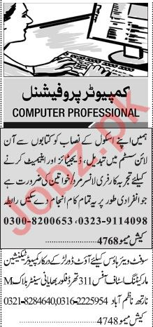 Jang Sunday Classified Ads 12th July 2020 for IT Staff