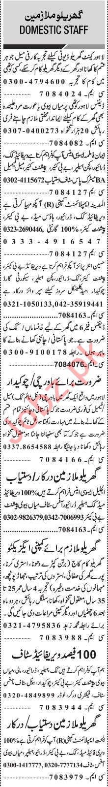 Jang Sunday Classified Ads 12th July 2020 for Domestic Staff