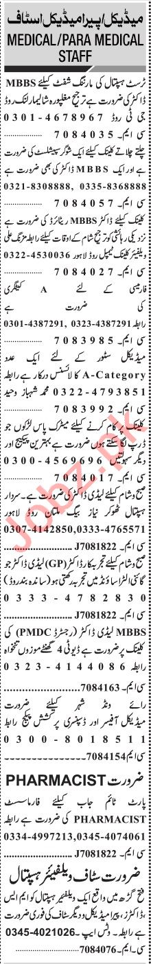 Jang Sunday Classified Ads 12th July 2020 for Medical Staff