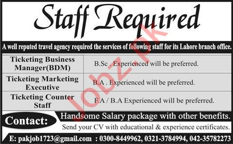Ticketing Business Manager & Marketing Executive Jobs 2020