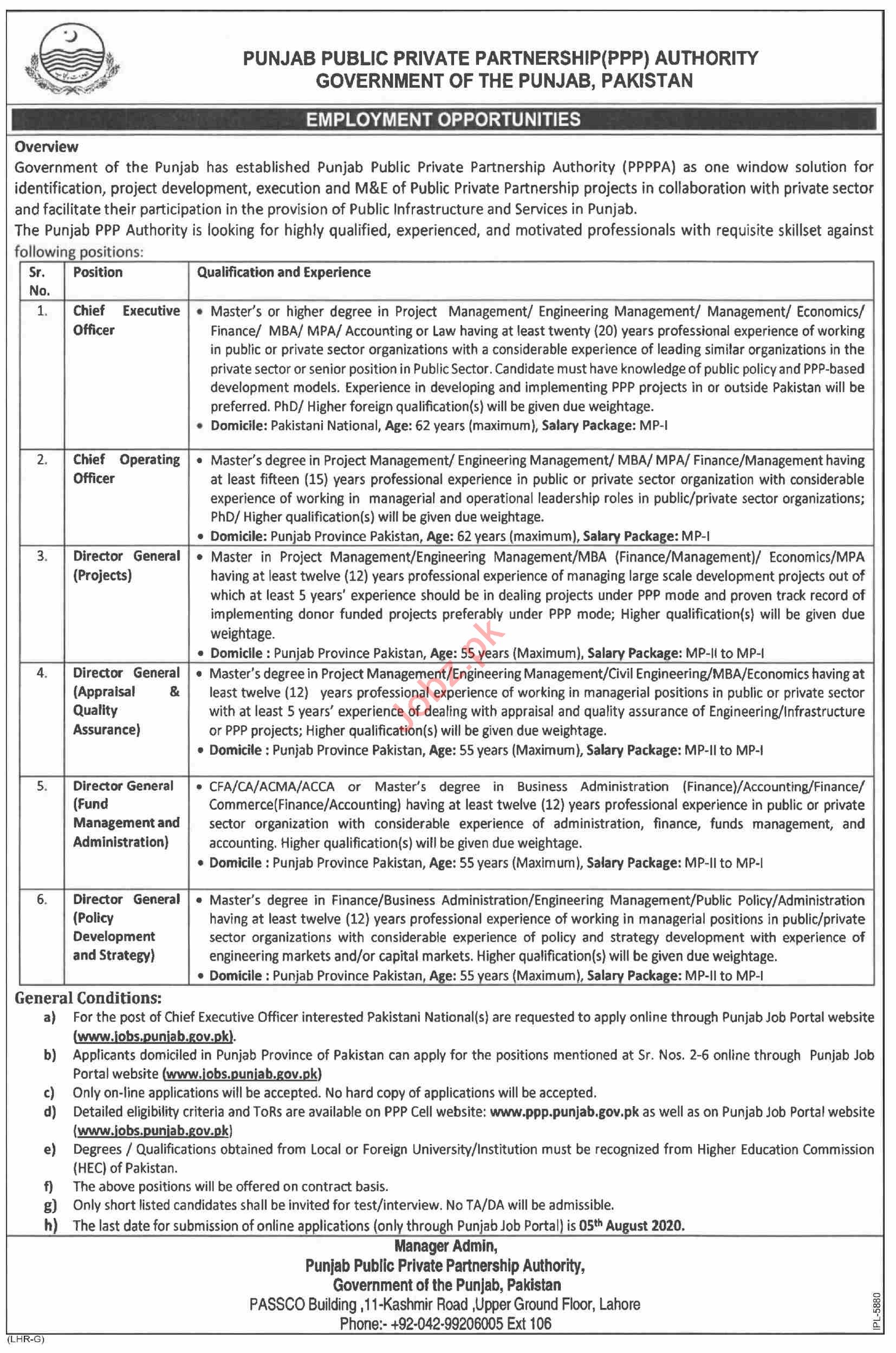Public Private Partnership Authority Jobs for Director & CEO