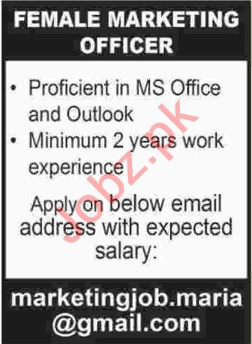 Female Marketing Officer Jobs 2020 in Karachi