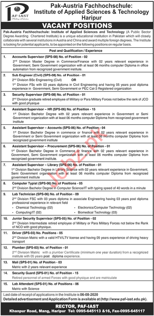Assistant Supervisor & Computer Typist Jobs in PAF IAST