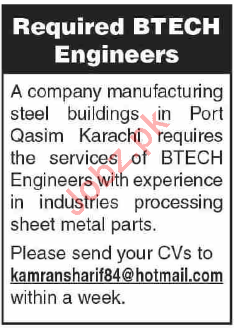BTECH Engineer Jobs 2020 in Karachi