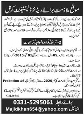 Retired Lieutenant Colonel Job 2020 in Islamabad