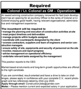 General Manager Operations Job 2020 in Karachi