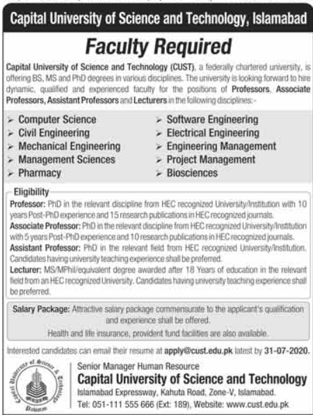 Capital University of Science & Technology CUST Faculty Jobs